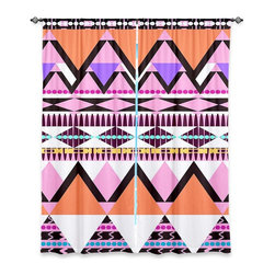 """DiaNoche Designs - Window Curtains Unlined by Organic Saturation - Colorful Dream Nativo - DiaNoche Designs works with artists from around the world to print their stunning works to many unique home decor items.  Purchasing window curtains just got easier and better! Create a designer look to any of your living spaces with our decorative and unique """"Unlined Window Curtains."""" Perfect for the living room, dining room or bedroom, these artistic curtains are an easy and inexpensive way to add color and style when decorating your home.  The art is printed to a polyester fabric that softly filters outside light and creates a privacy barrier.  Watch the art brighten in the sunlight!  Each package includes two easy-to-hang, 3 inch diameter pole-pocket curtain panels.  The width listed is the total measurement of the two panels.  Curtain rod sold separately. Easy care, machine wash cold, tumble dry low, iron low if needed.  Printed in the USA."""