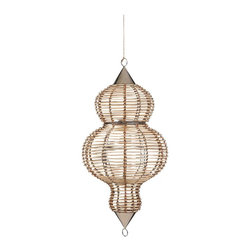 Cane Finial Lantern - This lovely lantern adds major curves and natural textures overhead, not to mention the glow of candlelight.