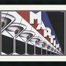Amanti Art - Martini Framed Print by Steve Forney - Bring a little retro chic to your decor with this Vintage Art martini print by Steve Forney. Stark and stylized, it highlights the classy, crisp cocktail countless socialites have sipped.
