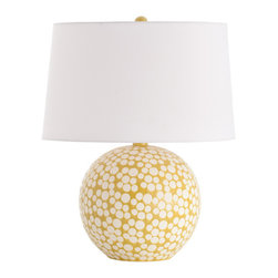 Zoey Matte White/Mustard Dot Glaze Porcelain Lamp - Fill a vintage sunroom or a transitional living space with the warmth and cheer of a playful task lighting source.  The Zoey Porcelain Lamp has a perfectly round base, covered in a mustard-yellow glaze that is stamped with a fun pattern of sweet polka dots in gradated sizes.  The traditional white shade (complete with diffuser for a soft, welcoming glow) and round goldenrod finial continue the circular motifs of the table lamp for a curving delight.