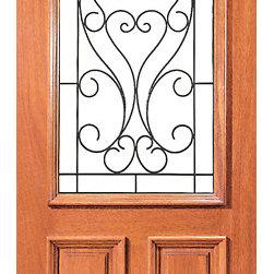 """Mahogany Insulated Radius Lite Home Single Door with Ironwork - SKU#XR-171-1BrandAAWDoor TypeExteriorManufacturer CollectionExpo Iron Exterior DoorsDoor ModelDoor MaterialWoodWoodgrainMahoganyVeneerPrice740Door Size Options36"""" x 80"""" (3'-0"""" x 6'-8"""")  $036"""" x 96"""" (3'-0"""" x 8'-0"""")  +$320Core TypeSolidDoor StyleDoor Lite StyleRadius LiteDoor Panel StyleRaised Moulding , Floating Panel , 2 PanelHome Style MatchingLog , Prairie , Ranch , MediterraneanDoor ConstructionEngineered Stiles and RailsPrehanging OptionsPrehung , SlabPrehung ConfigurationSingle DoorDoor Thickness (Inches)1.75Glass Thickness (Inches)Glass TypeDouble GlazedGlass CamingGlass FeaturesInsulated , TemperedGlass StyleClear , Glue Chip , SandblastGlass TextureClear , Glue Chip , SandblastGlass ObscurityDoor FeaturesDoor ApprovalsFSCDoor FinishesDoor AccessoriesWeight (lbs)340Crating Size25"""" (w)x 108"""" (l)x 52"""" (h)Lead TimeSlab Doors: 7 daysPrehung:14 daysPrefinished, PreHung:21 daysWarranty1 Year Limited Manufacturer WarrantyHere you can download warranty PDF document."""
