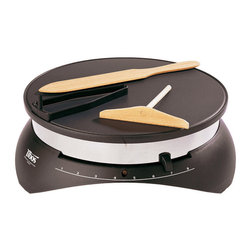 Paderno World Cuisine - 13-in. Diameter Tibos Electric Crepe Maker (10103) - The 13 in. Tibos crepe maker has a smooth, no stick surface to spread batter evenly. It comes with complete instructions and recipes. It takes a mere four seconds to spread the batter and 30 seconds to make the crepe. The extensive recipe book provides explanations and inspiration. UL approved with 110 volts, 1300 watts and 12 amps.