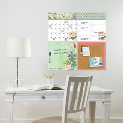 Back to School 2014 - Trendy and chic office decor idea with a beautiful vintage floral organization kit dry-erase set. Would look great in a dorm room or teen decor as well