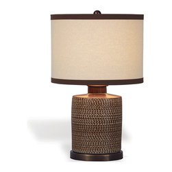 Kathy Kuo Home - Mesa Southwestern Brown Chipped Texture Barrel Lamp - Chipped texture is accented in the iridescent porcelain on the Mesa barrel lamp.  Featuring a hand wrapped beige linen top diffuser, this lamp is accented with antiqued copper finish metal base and cap.