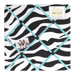 Sweet Jojo Designs - Blue Zebra Memo Board - The Blue Zebra Memo Board with button detail is a great way to display photos, notes, and postcards on your child's wall. Just slip your mementos behind the grosgrain ribbon to create an engaging piece of original wall art. This adorable memo board by Sweet Jojo Designs is the perfect accessory for the matching children's bedding set.