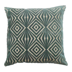 Teal geometric cut velvet decorative pillow cover - One pillow cover made to fit a size 18x18 insert. Soft teal geometric cut velvet fabric featured on the front side with a coordinating solid backing in an oatmeal tan. Finished with a concealed zipper closure. Insert not included.
