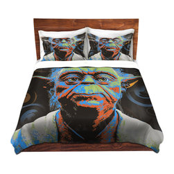 DiaNoche Designs - Duvet Cover Twill - Yoda - Lightweight and soft brushed twill Duvet Cover sizes Twin, Queen, King.  SHAMS NOT INCLUDED.  This duvet is designed to wash upon arrival for maximum softness.   Each duvet starts by looming the fabric and cutting to the size ordered.  The Image is printed and your Duvet Cover is meticulously sewn together with ties in each corner and a concealed zip closure.  All in the USA!!  Poly top with a Cotton Poly underside.  Dye Sublimation printing permanently adheres the ink to the material for long life and durability. Printed top, cream colored bottom, Machine Washable, Product may vary slightly from image.