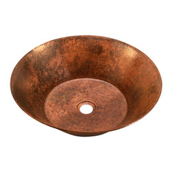 Artesano Copper Sinks - Round Vessel Bathroom Copper Sink - Very thick gauge 14 - Round Vessel Bathroom Copper Sink 17 x 5 for Over the Counter or Vessel installation, thick gauge 14, all hand made, all copper, all hammered