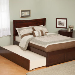 """Atlantic Furniture - Urban Lifestyle Metro Bed with Trundle - The Metro has a fashionable taste of its own. Symmetrical curvature with an accommodating inset bevel gives this bed the Metropolitan sophistication. Features: -Rubberwood construction. -Eco-Friendly. -With flat panel footboard. -Painted furniture may also utilize CARB certified low formaldehyde MDF produced from plantation-grown hardwood. -Sturdy dowel, bolt and barrel nut assembly. -Accepts bed drawers or trundle bed. -Tools needed for assembly: Phillips Screwdriver. Specifications: -Twin dimensions: 44.25"""" H x 42.88"""" W x 77"""" D. -Full dimensions: 44.25"""" H x 57"""" W x 77"""" D."""