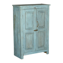 Sierra Living Concepts - Palisade Distressed Blue 2 Door Reclaimed Wood Cabinet - Palisade Distressed Blue 2 Door Reclaimed Wood Cabinet has panel doors and is handcrafted from historic reclaimed wood. Strong, well made and durable this reclaimed wood furniture piece will serve you well for years to come.