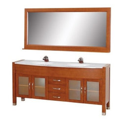 Wyndham Collection Daytona 70-in. Double Bathroom Vanity Set - Cherry - Make your lavatory lavish with the Wyndham Collection Daytona 70-in. Double Bathroom Vanity Set - Cherry, a perfect addition to your bathroom. This beautiful vanity's two sinks rest within a glass countertop, which serves as a glistening, striking centerpiece for your bathroom. The vanity's frame is constructed of durable, eco-friendly oak hardwood, sustainably grown and harvested for minimal impact. Three drawers and two shelved cabinets offer ample storage for bathroom necessities, each featuring chrome-finished metal pulls and hardware. The doors feature frosted glass inserts for additional aesthetic brilliance. The large mirror serves as a wonderful complementary piece. If you're looking for contemporary style, this vanity is a brilliant starting point.Dimensions:Vanity: 70.75W x 22D x 33.5H inchesMirror: 70.75W x 5D x 32H inches About the Wyndham CollectionWyndham and the Wyndham collection are all about refinement, detailing, uniqueness, quality, and longevity. They are dedicated to the quality of their products and own the factory where each piece is constructed. This allows Wyndham to offer products that reflect the rigorous quality standards required for every piece that is offered to their customers. The Wyndham collection showcases elegant, modern design styles that highlight functionality and style in every detail.