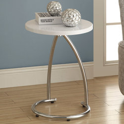 Monarch - Glossy White/Chrome Metal Accent Table - To have or not to have just isn't an option! This handy white finished accent table offers individuals a simple yet favorable way for placing drinks, snacks or meals while watching TV or chatting on the sofa. Its sturdy yet fashionable chrome metal base and a white finished top that provides exceptional support to this must-have piece!