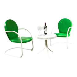 Crosley Furniture - 3-Pc Round Conversation Seating Set - Includes two chairs and side table. Easy to assemble. UV resistant. ISTA 3A certified. Warranty: 90 days. Made from sturdy steel. White and grasshopper green color. Assembly required. Chair: 28.5 in. W x 21 in. D x 34.5 in. H (15 lbs.). Side table: 20 in. Dia. x 19.5 in. H (8.4 lbs.). Overall weight: 30 lbs.Relax outside for hours on our nostalgically inspired Griffith outdoor furniture. Kick back while you reminisce in this seating set, designed to withstand the hottest of summer days and other harsh conditions. The furnitures complement your outdoor accessories.