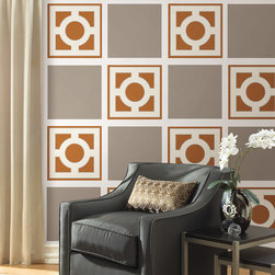 """Zoe Pebble Blox Set of Wall Decals - Retro and chic! Zoe is sophisticated with a quiet elegance. This pack contains Eight 13"""" x 13"""" Zoe Blox and Eight 13"""" x 13"""" Pebble Taupe Blox. WallPops are repositionable and always removable."""