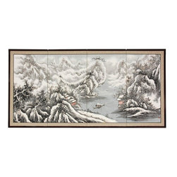 "Oriental Furniture - 36"" Snowy River - The Snowy River scene is extraordinary, with snow capped mountains, cliffs, and a broad river fading into the background. Note that no two renderings are exactly the same. Subtle, beautiful hand painted wall art."