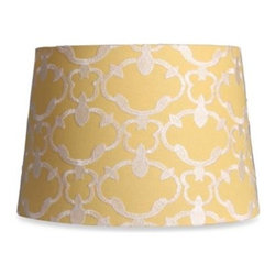Adesso Lighting - Mix & Match Medium 13-Inch Embroidered Linen Drum Lamp Shade in Yellow - This yellow embroidered linen lamp shade has an elegant, damask look. Featuring a stylish bright color, this lamp shade is perfect for any home decor.