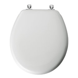 BEMIS MFG - Toilet Seat Round Premium White - STA-TITE Seat fastening system installs with ease, never loosens, duraguard antimicrobial built-in seat protection, non-tarnish chrome hinges, superior high-gloss finish resists chipping and scratching.