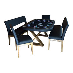 BBO Poker Tables - BBO Poker The Helmsley 5-Piece Poker Table Set - Red Suited Speed Cloth - Interior designer approved and poker player tested, the Helmsley is the first true crossover dining poker table. With clean, modern rustic lines, the Helmsley seats 6 for dining, but when dining top comes off, a premium eight-player poker table is revealed. With solid wood legs and dining top, the Helmsley dining poker table will be the centerpiece of your dining room for years to come. The Helmsley poker table features removable armrests so you can upgrade your playing surface and eight cup holders to keep all your players hydrated. The dealer spot converts to a player position when the game is in full action. Add the optional dining benches and end chairs to get the ultimate dining and poker setup. The Helmsley is second to none in style and performance; it will leave your guests in awe.