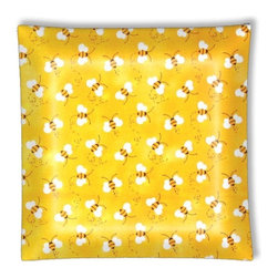 "Sweet Yellow Bumble Bees Bee Ceiling Light - 12"" square semi flushmount ceiling lamp with designer finish. Includes complete installation instructions and complete light fixture. Wipes clean with a damp cloth. Uses 2-60 watt bulbs (not included) and is made with eco-friendly/non-toxic products. This is not a licensed product, but is made with fully licensed products."