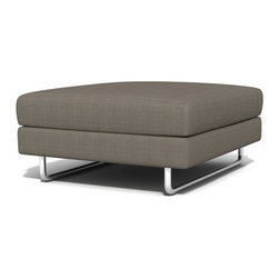 TrueModern - TrueModern Hamlin Calvin Dolphin Ottoman - Features: Calvin Dolphin finish / Textured, 100% polyester fabric / Medium density cushion / Classic baseball stitching / Brushed nickel, steel tube legs.