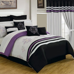Lavish Home - Lavish Home 25 Piece Room-In-A-Bag Rachel Bedroom Set Multicolor - 66-00009-24PC - Shop for Bedding Sets from Hayneedle.com! With everything from window treatments to bedding the Lavish Home 25 Piece Room-In-A-Bag Rachel Bedroom Set is a quick and easy way to get a whole new look in your bedroom. This collection has a contemporary black white and purple stripe pattern with elegant embroidery details. All pieces are made of ultra-soft polyester and coordinate beautifully. The comforter is overfilled oversized and reversible. Machine-wash pieces in cold water and tumble-dry on low.Set Includes:1 Comforter1 Bedskirt: 15D in.2 Pillow shams: 20 x 36 in.3 Euro pillow shams: 26 x 26 in.4 Decorative pillows1 Flat sheet1 Fitted sheet2 Pillowcases4 Window panels: 56 x 84 in.2 Window valances: 84W x 15L in.4 Curtain tie-backsComforter Dimensions:Queen: 92L x 92W in.King: 106L x 92W in.About Trademark Global Inc.Located in Lorain Ohio Trademark Global offers a vast selection of items for your home and lifestyle. Whether you need automotive products collectibles electronics general merchandise home and garden items home decor housewares outdoor supplies sporting goods tools or toys Trademark Global has it at a price you can afford. Decor items and so much more are the hallmark of this company.