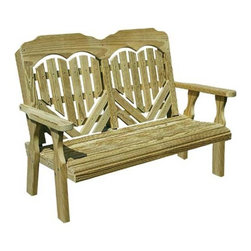 Fifthroom - Treated Pine Heartback Garden Bench - The Heartback Garden Bench has style and comfort with a hand crafted heart design. A wonderful additon to any patio.