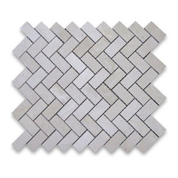 "Stone Center Corp - Spanish Crema Marfil Marble Herringbone Mosaic Tile 1 x 2 Polished - Crema Marfil Marble 1x2"" pieces mounted on 12x12"" sturdy mesh tile sheet"