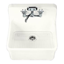 "KOHLER - KOHLER K-12701-0 Gilford Apron-Front, Wall-Mount Kitchen Sink, 24"" x 22"" in Whit - KOHLER K-12701-0 Gilford Apron-Front, Wall-Mount Kitchen Sink, 24"" x 22"" in WhiteThe integral apron front and backsplash of the Gilford kitchen sink blend nostalgic appeal with modern functionality. This vitreous china sink offers a large single-basin to accommodate a variety of kitchen tasks, and features two-hole faucet drilling on 8"" centers."