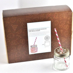 Mason Jar Tumblers Party Kit - This party kit would be a step in the right direction to beautify an outdoor dinner party! Prep a pretty colorful drink and serve it in these tumblers. Straw included (a major plus).