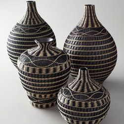 "Horchow - Bulb-Shaped Ceramic Vase - Choose one of these vases or create an instant collection—they're so affordable, you'll want more than one! Ceramic. Wrapped in woven seagrass. Short vase with thin neck (shown front right), 8""Dia. x 10""T. Vase with flared top (shown front left..."