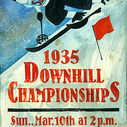 Red Horse Signs - Vintage Signs Downhill Championships Large - This  Downhill  Championships  vintage  sign  is  customizable  on  the  bottom  two  lines  for  a  unique  rustic  sign  that's  all  your  own.  Printed  to  distressed  wood  with  knots  and  imperfections  this  20  x  32  sign  has  a  classic  style  in  muted  tones  of  blue.