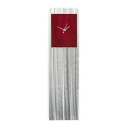 Metal Art Studio - Red Vibe Clock Metal Art - This is a tall, narrow-style modern metal wall clock. The main body of the clock features a seemingly simple, vertical grind pattern with a crisp, natural aluminum finish. The clock face has a more decorative, wavy grind pattern behind transparent red acrylic paint. It is a fully-functional clock, with a funky squiggled second hand.