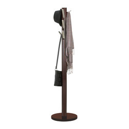 Wooden Coat Rack in Espresso - Clear up the untidy look of clothes thrown every which way with this sleek and contemporary coat rack. This freestanding rack has aluminum hooks that flip up and down, creating a sleek profile when not in use. With nine hooks and durable rubberwood construction, this rack can hold just about anything you and your family need to hang up.