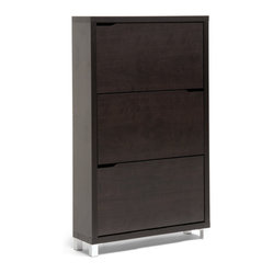 Baxton Studio - Simms Dark Brown Modern Shoe Cabinet - Treat your shoes with the respect they deserve. This sleek and modern shoe cabinet features three drawers to conveniently keep shoes out of site in the entryway, closet, or hall. The low profile design ensures that only the minimal amount of space is taken, while the spacious drawers ensure your shoes a little breathing room.