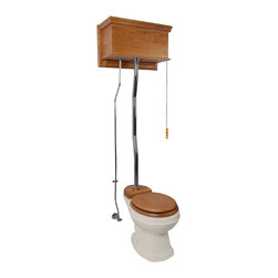 Renovators Supply - High Tank Toilets Bone Flat Panel Light Oak Fin Round Z-pipe   20189 - High Tank Toilets Z-pipe: Our stylish high tank round toilet will lend your lavatory the charm and ambiance of the Victorian age. We've updated the materials and components with 21st century technology. All tanks are a water-saving 1.6 gallons per flush. Ready to install with all mounting parts, includes light oak finish flat panel wood tank, liner, supply line, angle stop, mounting hardware and grade A vitreous round bowl. Toilet seat not included. Adjustable overall height from 59 inch to 74 inch and 12 inch rough-inch