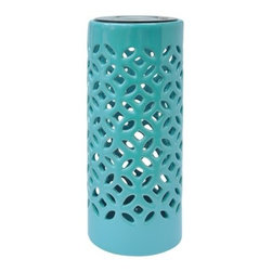 Threshold Ceramic Tabletop Lantern, Blue - This simple ceramic lantern is also affordable. I could see a row of them running down an outdoor table to create a Hawaiian-chic style.