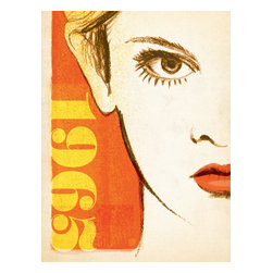 Anderson Design Group - The Mod Collection: Face Gallery Print - 1965 was a good year for eye shadow and mascara. Mod Models batted their eyelashes at the camera, and fashion magazine covers began to take on a new look. This print is rendered in the bold paint and conte style that was popular among fashion designers in New York, London and Paris during the 1960s. Original, hand-illustrated design from Anderson Design Group in Nashville, TN.
