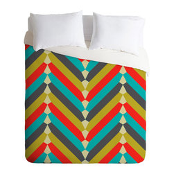 Kites and Chevrons Duvet Cover - A rainbow of bold hues marks this duvet with a chic and trendy chevron pattern, glammed up with geometric accents that evoke a string of crystals. The soft poly blend cover is an easy-care and comfy way to re-energize your entire bedroom.