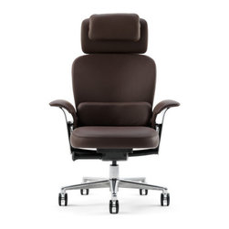 "Steelcase - Leap 464 Series WorkLounge High-Back Leather Office Chair - If you're searching for perfect chair melds functionality for office with your desire for luxurious comfort during those long days, look no further than Leap® WorkLounge, beautifully crafted, first-ever, working lounge chair. Shift positions. Recline deeply, or sit up straight and work at convenient table or desk. Developed in conjunction with IDEO, indulgent Leap® WorkLounge combines elegant form, rich materials, and patented Leap® technology will support your back in wide range of healthy positions. Research has shown changing posture is right thing to do for good health. So do yourself favor - take care of yourself and look forward to work day at same time.   WHY BUY FROM US?   -We stand behind our 100% Price-match Guarantee on all Steelcase chairs.-We are an authorized Steelcase retailer and can offer you complete Steelcase lifetime.-If you have any problem with your WorkLounge and need work done, Steelcase will cover costs. Steelcase is proud to stand behind their products.-Looking to make large purchase? We make volume discounts possible! Don't hesitate to give us call.-You'll never pay sales tax*! * Except in Massachusetts, Kentucky and Utah.             FEATURES -Ultimate in executive comfort.-Based on Leap® chair's amazing ergonomic comfort.-Supports work and lounge.-Lustrous and lightweight die-cast polished aluminum frame and base.-Large headrest with flip up pillow.-Removable lumbar pillow.-Lower back firmness.-Fixed, non-adjustable arms.-3"" Pneumatic seat-height adjustment.-Leap's Live Back supports your entire spine.-Natural glide system allows reclining without disrupting work.-Rich, supple ElmoSoft leather.-Ships fully assembled.  Please Note: Use of standard carpet casters on hard surfaces, including floor mats, will affect chair stability and may result in personal injury.             ERGONOMIC FUNCTIONS   -a. Leap LiveBack® changes shape to mimic your unique spinal motion, providing support for entire spine b. Leap Natural Glide System allows you to recline without leaving your Vision and Reach Zone, so you stay oriented to your work. encourages more varied postures so there's less static load on spine. c. Upper back force requires only five complete turns and accommodates broader range of users by allowing user to change rate of increase in force as user reclines. d. Removable Lumbar pillow provides extra comfort and support to lumbar region. e. Variable back stop with five positions is standard. f. Pneumatic Seat height adjustment within 3"" range g. Headrest provides neck and head support. Pillow is attached to chair but can be flipped over top if not desired in current posture h. Fixed arms have extra padding to provide forearm support and comfort i. Polished aluminum base, arm supports and back ribbon.   DIMENSIONS"