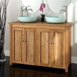 "48"" Palu Teak Vessel Sink Vanity - The beauty of teak shines through in the 48"" Palu Vessel Sink Vanity , displaying the wood's characteristic grain on its recessed panel doors."