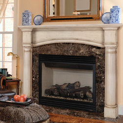 Pearl Mantels - Fireplace Mantel: Pearl Mantels Princeton Wood Fireplace Mantel Surround - Shop for Mantels and Trim from Hayneedle.com! Let the old-country style and elegant simplicity of the Pearl Mantels Princeton Wood Fireplace Mantel Surround create a tranquil atmosphere in your favorite room. With double pillars that give it a stately demeanor this mantel is hand-carved from natural tight-grained Asian hardwoods and veneer which features a grain similar to that of American White Oak and is very easy to paint or stain. This particular style of the Princeton Fireplace Mantel can be used with plinth bases to increase its height. The mantel has a 48-inch interior opening. Mantel Surround Dimensions 48 -in. A. Shelf length 68.5 in. B. Interior width 48 in. C. Interior height 42 in. D. Width to outside leg at base 64 in. E. Overall height 57 in. F. Shelf depth 8.25 in. G. Leg Depth 6 in. About the Pearl InlayPearl Mantels now include a discrete authentic pearl-style inlay on each of their pieces. Your Pearl Mantel may or may not include this feature depending on purchase date. Please contact our Customer Care Center with any questions. About Pearl Mantels Inc. Pearl Mantels Inc. believes in business based on honest value quality products and personal service - even contacting clients directly to evaluate their needs and develop leading-edge solutions. Pearl also believes mantels are the emotional core of rooms representing heritage and tradition and displaying precious heirlooms. Each Pearl mantel boasts exclusive detail and classic design all at an affordable price. Plus a variety of finish options ensures Pearl Mantels Inc. indeed has a mantel for every hearth. Wood and MDF are combustible. Please review heat clearance specifications before installation. Consult your local building codes and manufacturer information regarding your specific insert or stove.