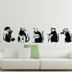 ColorfulHall Co., LTD - Wall Decals For Kids Banksy Collection of Rats Kids Animal Graffiti  (5pcs) - Wall Decals For Kids Banksy Collection of Rats Kids Animal Graffiti  (5pcs)