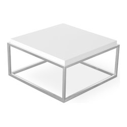 Gus Modern - Drake Coffee Table, White, Coffee Table Square - A sculptural coffee table constructed with a cubist, stainless steel base and choice of wood or multi-coat lacquer finish. The Drake is available in square or rectangular formats.