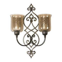 "Uttermost - Sorel Metal Double Wall Sconce - Hand Forged Metal Finished In Antiqued Bronze With Transparent, Copper Brown Glass Globes. White 3"" Candles Included."