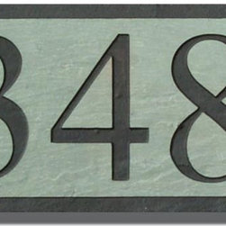 Slate House Marker Address Sign - The slate has a clean and modern look but is also traditional. I love the natural stone. It would look great paired with a flagstone floor.