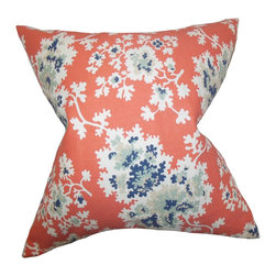 """The Pillow Collection - Danique Floral Pillow Coral 18"""" x 18"""" - With a vibrant pop of color and a blooming floral pattern, this accent pillow adds a fun twist to your home. Toss this throw pillow over your bed, sofa or seat to add comfort and texture. Featuring a bright coral background and flourishing flowers in shades of blue and white. Perfect for indoor use, this 18"""" pillow is made with a blend of 55% cotton and 45% linen."""