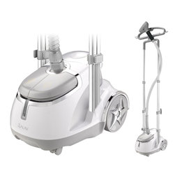 SALAV - SALAV Professional Series Dual Bar Garment Steamer with Foot Pedals, 1500 watts - The SALAV  Professional Garment Steamer model number GS45-DJ features dual telescopic bar support for added stability and to protect against tilting.  The powerful 1500 watt GS45-DJ has convenient power & steam setting pedals that are ergonomically located for easy access.  The fashion forward GS45-DJ also contains SALAV patented features including a multifunctional hanger and a double insulated hose to maintain steam temperature and regulate hose surface heat.  The GS45-DJ garment steamer also has an easy-to-fill removable translucent water tank with 1.8L capacity to provide continuous steam for up to 60 minutes and heats up in just 45 seconds. Included accessories: Mini ironing paddle, Pants press attachment, Hanger clips, Fabric brush