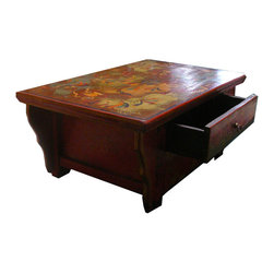 Golden Lotus - Tibaten Color Fu Dogs Top Long Kang Table - This is a Tibetan Fu Dog animal graphic top low table with accent drawing at the front. It is an interesting small coffee table or as a personal mediation desk.