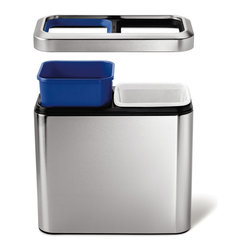 simplehuman - simplehuman 20 Liter Slim Open Recycler - The simplehuman Slim Open Recycler is ideal for hotel rooms or under office desks. Neatly sort your daily trash and recyclables in this dual-bucket recycler that makes eco-friendliness very space-efficient.