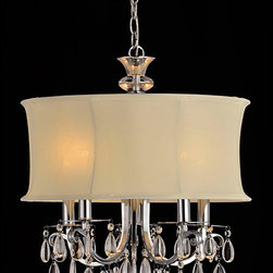 None - White Shade 5-light Crystal Chandelier - Add elegance and sophistication to your living space with this five-light crystal chandelier. Constructed with an iron base,this stunning chandelier is chrome finished and features white fabric shades over its five candelabra lights.